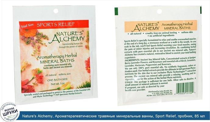Nature\'s Alchemy, Ароматерапевтические травяные минеральные ванны, Sport Relief, пробник, 85 мл