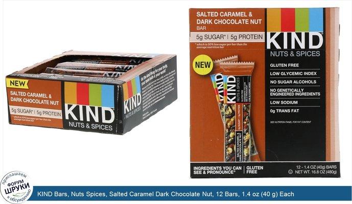 KIND Bars, Nuts Spices, Salted Caramel Dark Chocolate Nut, 12 Bars, 1.4 oz (40 g) Each