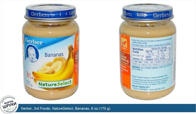 Gerber, 3rd Foods, NatureSelect, Bananas, 6 oz (170 g)