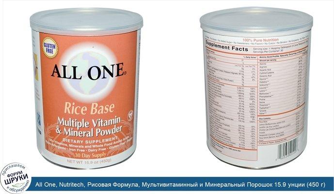All One, Nutritech, Рисовая Формула, Мультивитаминный и Минеральный Порошок 15.9 унции (450 г)