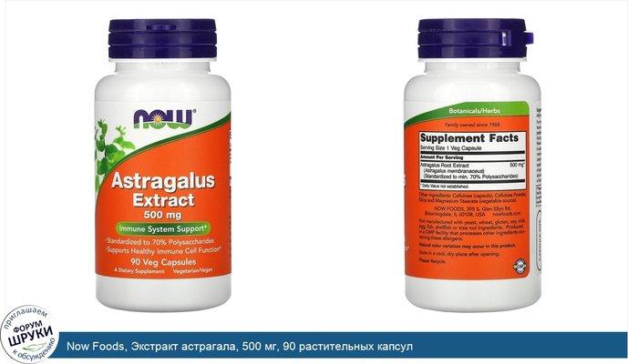 Now Foods, Экстракт астрагала, 500 мг, 90 растительных капсул