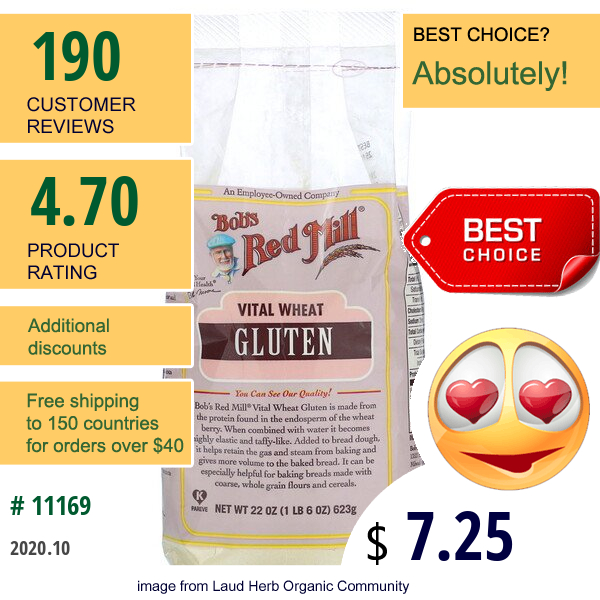 Bob'S Red Mill, Vital Wheat Gluten Flour, 22 Oz (623 G)