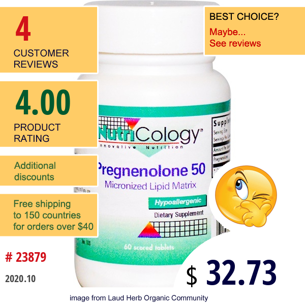 Nutricology, Pregnenolone 50, 60 Scored Tablets