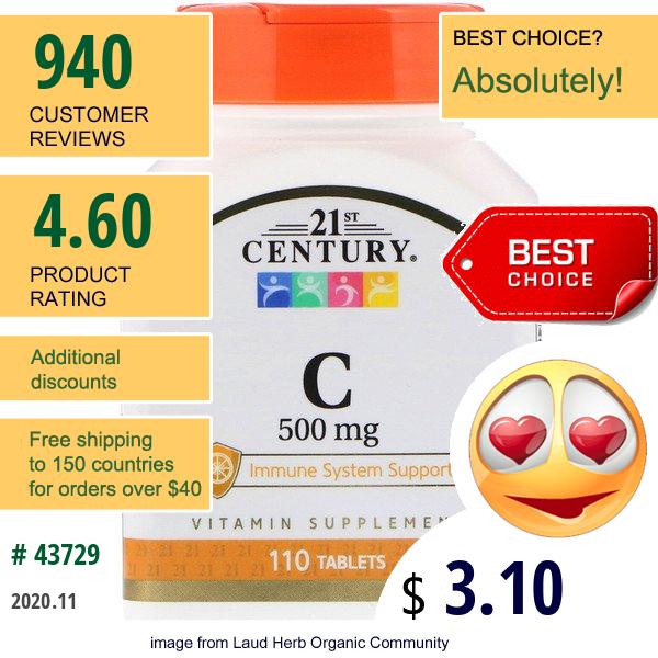 21St Century, C, 500 Mg, 110 Tablets