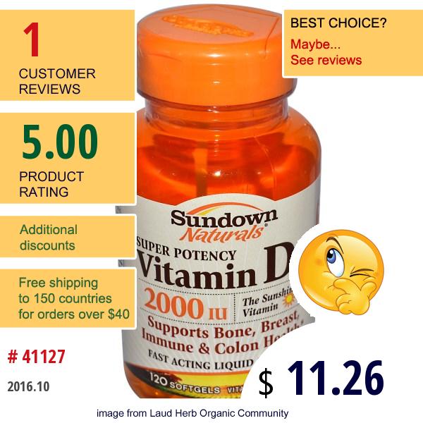 Rexall Sundown Naturals, Super Potency Vitamin D3, 2000 Iu, 120 Softgels