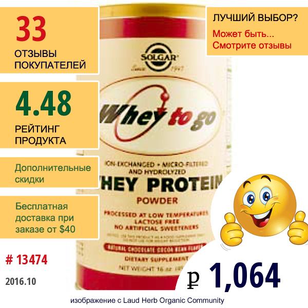 Solgar, Whey To Go, Сывороточный Белок, С Натуральным Шоколадным Вкусом, 16 Унций (454 Г) Порошка