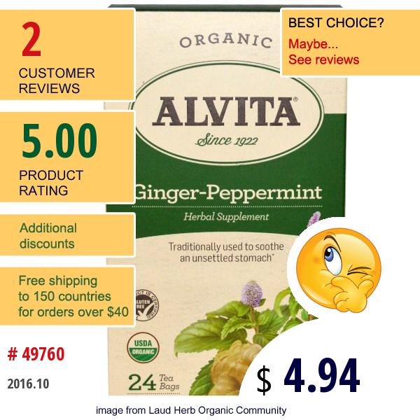Alvita Teas, Ginger-Peppermint, Organic, Caffeine Free, 24 Tea Bag, 1.69 Oz (48 G)
