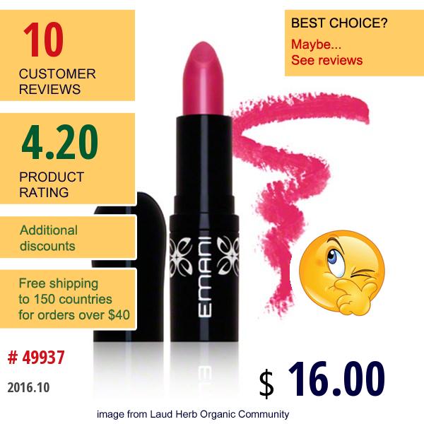 Emani, Hydrating Lip Color, Plush, 0.10 Oz (3 G)