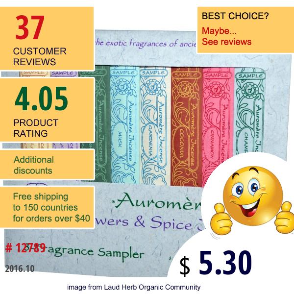 Auromere, Flowers & Spice Incense, 8-Fragrance Sampler, 3 Mini-Sticks Each