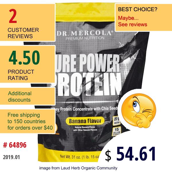 Dr. Mercola, Pure Power Protein, Banana Flavor, 31 Oz (880 G)