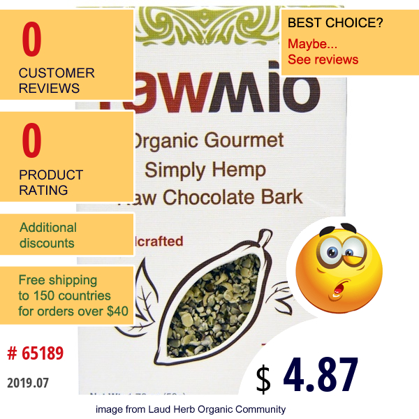 Rawmio, Organic Gourmet Simply Hemp Raw Chocolate Bark, 1.76 Oz (50 G)