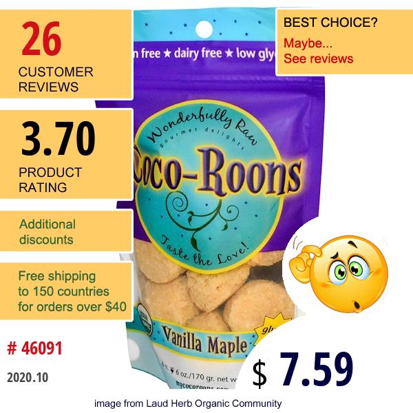 Sejoyia, Coco-Roons, Vanilla Maple, 8 Count, 6 Oz (170 G)