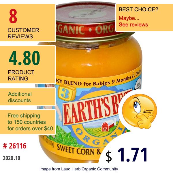 Earth'S Best, Sweet Corn & Carrot Medley, 6 Oz (170 G)
