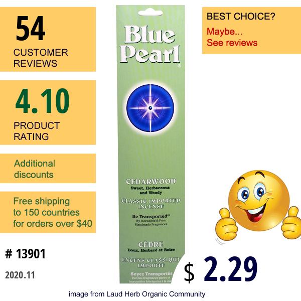 Blue Pearl, Classic Imported Incense, Cedarwood, 0.7 Oz (20 G)