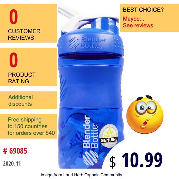 Blender Bottle, Sport Mixer Blender Bottle, Grip Tritan, Blue, 20 Oz