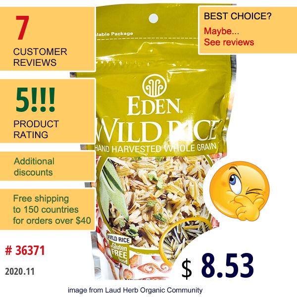 Eden Foods, Wild Rice, 7 Oz (198 G)