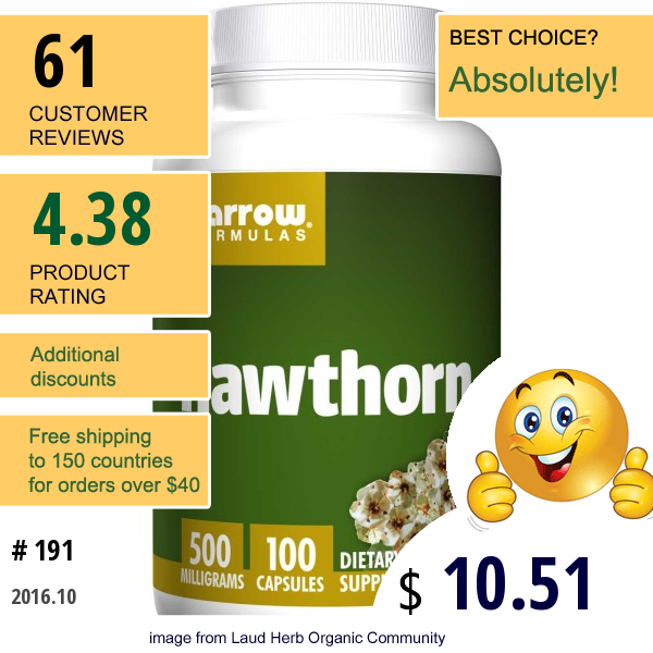 Jarrow Formulas, Hawthorn, 500 Mg, 100 Capsules