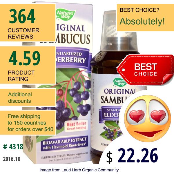Natures Way, Original Sambucus, Standardized Elderberry, 8 Fl Oz (240 Ml)