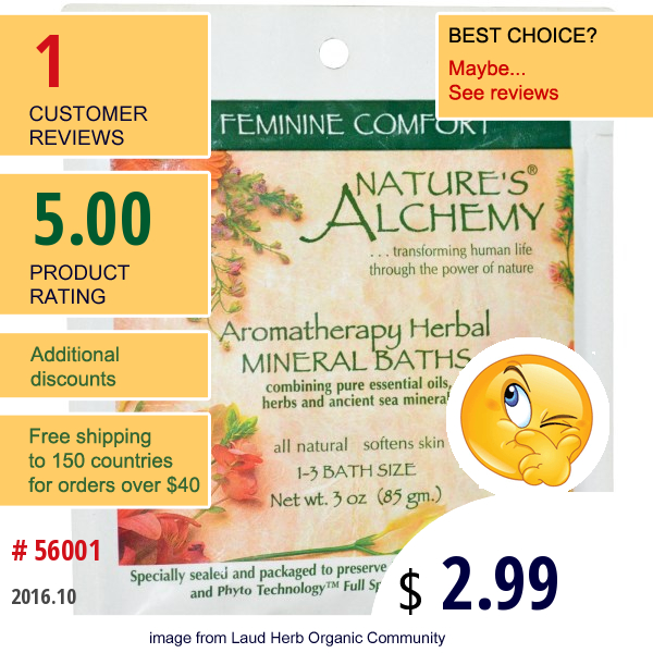 Natures Alchemy, Aromatherapy Herbal Mineral Baths Feminine Comfort, 3 Oz (85 G)