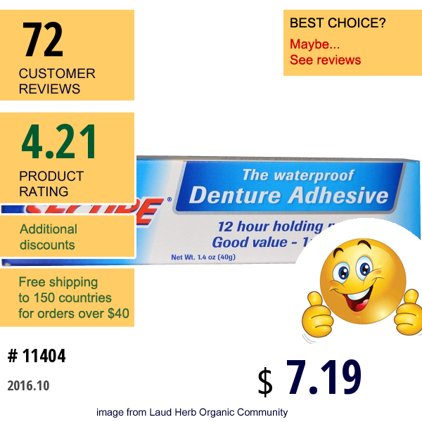 A Vogel, Denture Adhesive, Waterproof, 1.4 Oz (40 G)