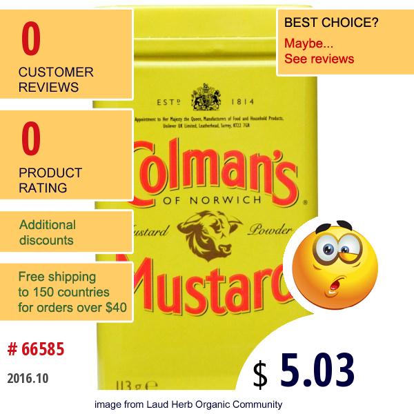 Colmans, Double Superfine Mustard Powder, 4 Oz (113 G)
