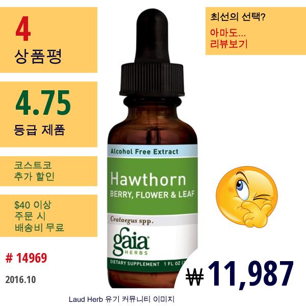 Gaia Herbs, 호손, 열매, 꽃, 잎, 무알콜, 1 Fl Oz (30 Ml)