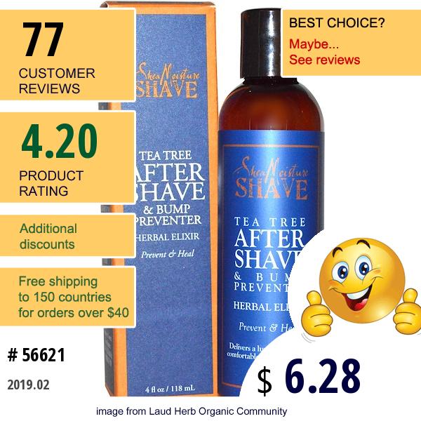 Sheamoisture, After Shave & Bump Preventer, Tea Tree, 4 Fl Oz (118 Ml)