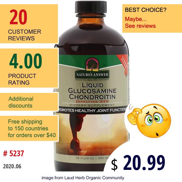 Nature'S Answer, Liquid Glucosamine Chondroitin, Tangerine Flavored, 16 Fl Oz (480 Ml)