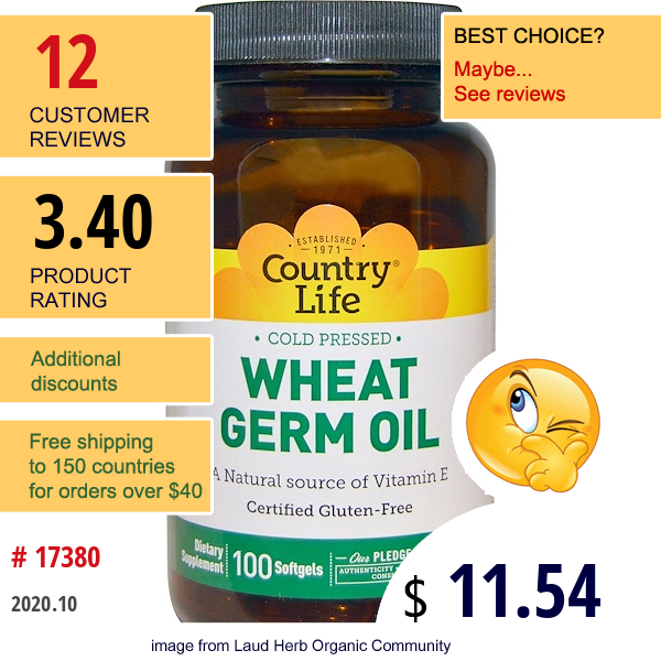 Country Life, Wheat Germ Oil, 100 Softgels
