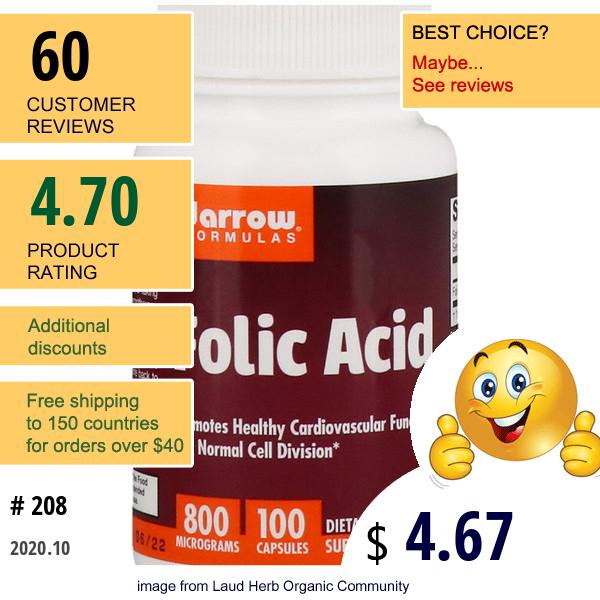 Jarrow Formulas, Folic Acid, 800 Mcg, 100 Capsules