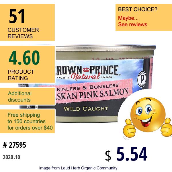 Crown Prince Natural, Alaskan Pink Salmon, Skinless & Boneless, 6 Oz (170 G)