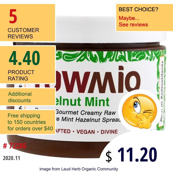 Rawmio, Organic, Hazelnut Mint, 6 Oz (170 G)
