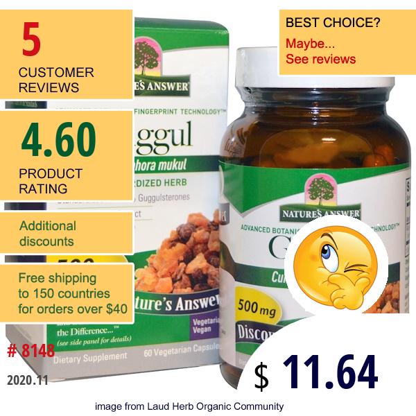 Nature'S Answer, Guggul, Standardized Herb, 500 Mg, 60 Veggie Caps