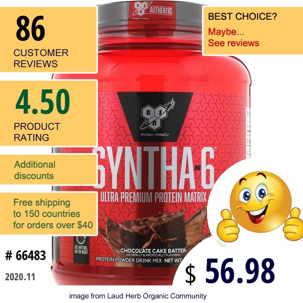 Bsn, Syntha 6, Ultra Premium Protein Matrix, Chocolate Cake Batter, 5 Lb (2.27 Kg)