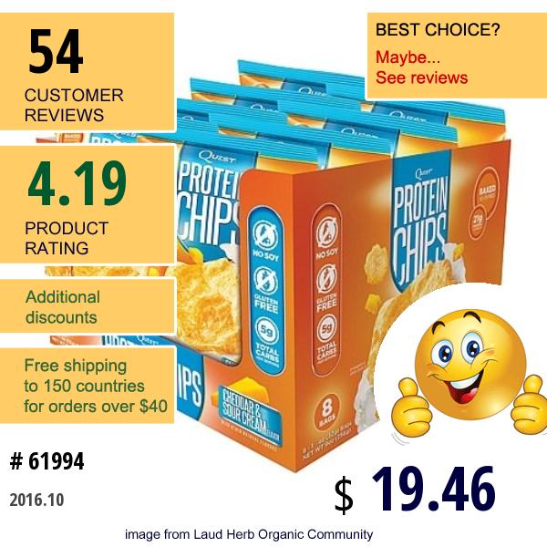 Quest Nutrition, Protein Chips, Cheddar & Sour Cream, 8 Bags, 1 1/8 Oz (32 G) Each