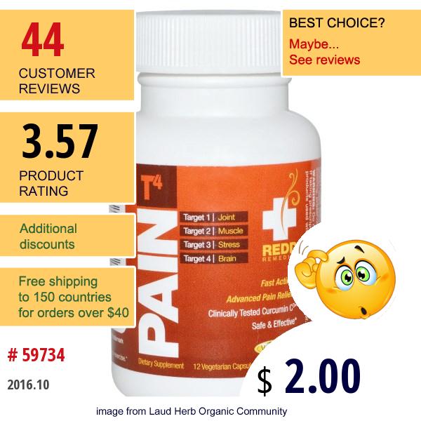Redd Remedies, Pain T4, 12 Veggie Caps