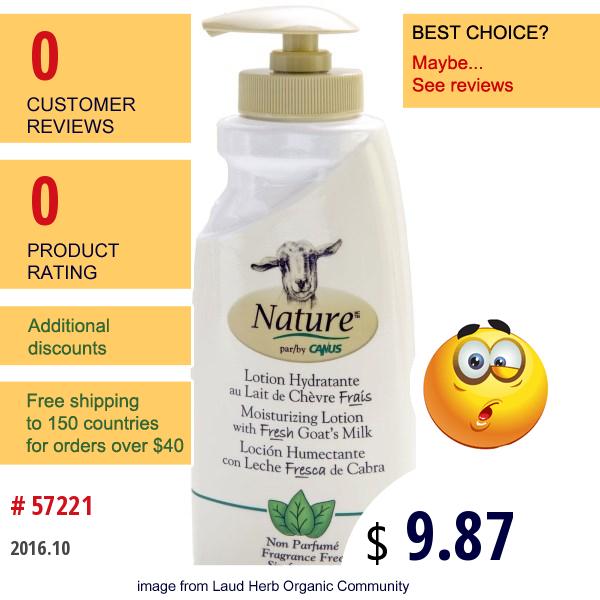 Canus, Nature, Moisturizing Lotion With Fresh Goats Milk, Fragrance Free, 11.8 Oz (350 Ml)