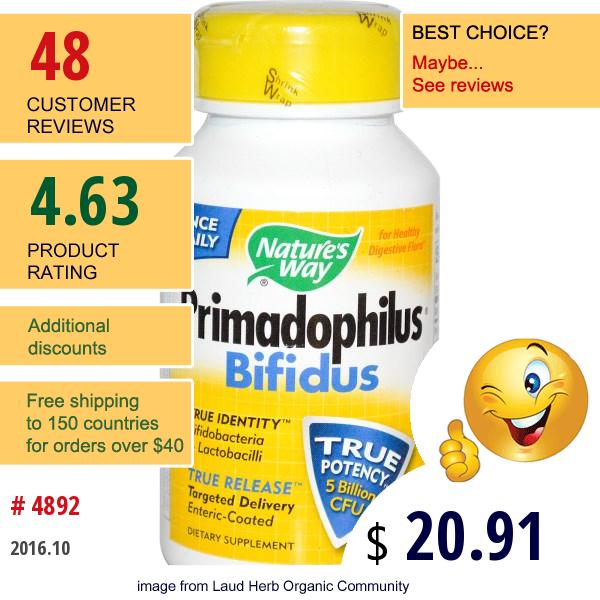 Natures Way, Primadophilus, Bifidus, For Adults, 90 Vcaps