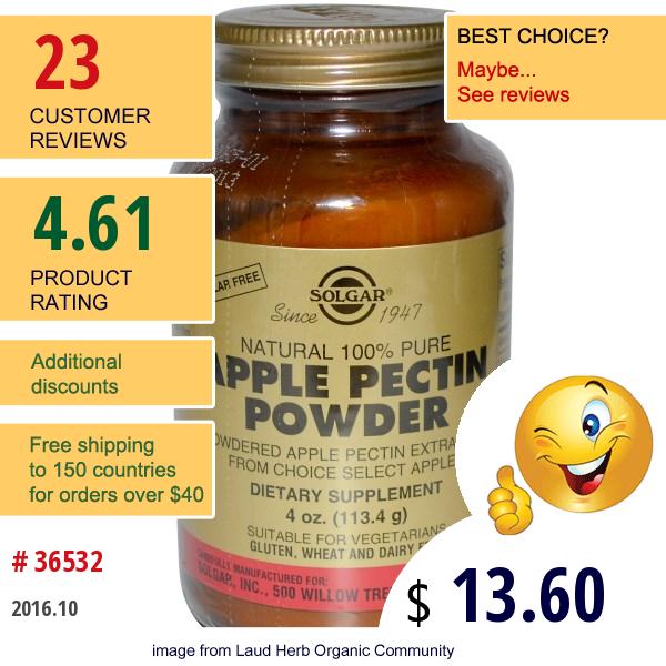 Solgar, Apple Pectin Powder, 4 Oz (113.4 G)