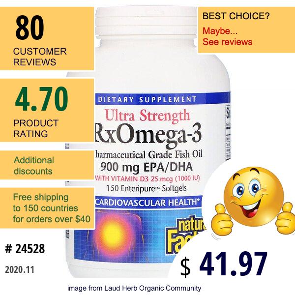 Natural Factors, Ultra Strength Rxomega-3 With Vitamin D3, 900 Mg Epa/Dha, 150 Enteripure Softgels