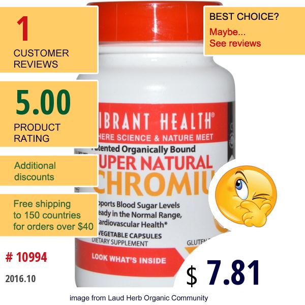 Vibrant Health, Super Natural Chromium, 60 Veggie Caps