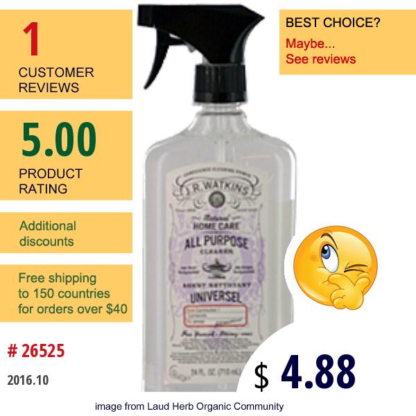 J R Watkins, Natural Home Care, All Purpose Cleaner, Lavender, 24 Fl. Oz. (710Ml)