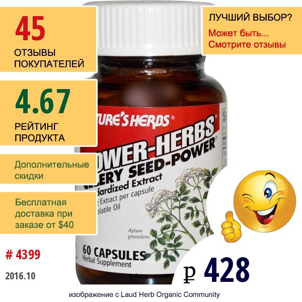 Natures Herbs, Сила Трав, Сила Семян Сельдерея, 60 Капсул