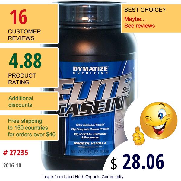 Dymatize Nutrition, Elite Casein, Smooth Vanilla, 2.12 Lbs (960 G)