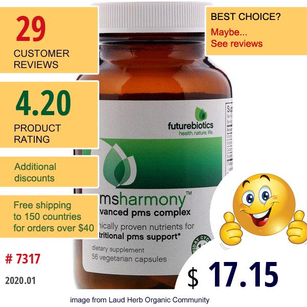 Futurebiotics, Pmsharmony, Advanced Pms Complex, 56 Vegetarian Capsules