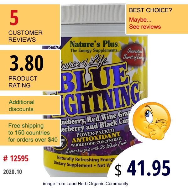 Nature'S Plus, Source Of Life, Blue Lightning, Powder, Energy Drink Mix, 0.5 Lb (230 G)