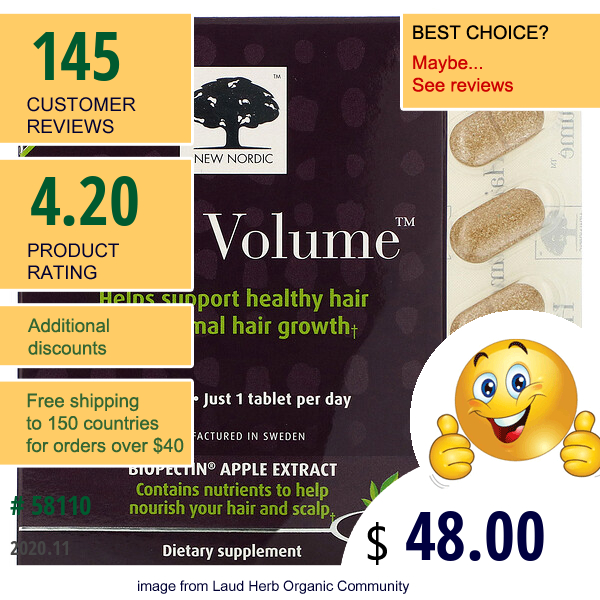 New Nordic, Hair Volume With  Biopectin Apple Extract, 90 Tablets