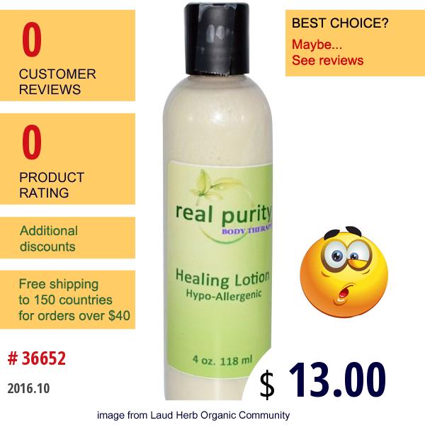 Real Purity, Healing Lotion, 4 Oz (118 Ml)