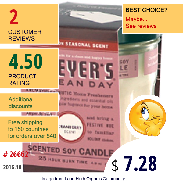 Mrs. Meyers Clean Day, Scented Soy Candle, Cranberry Scent, 4.9 Oz (140 G)