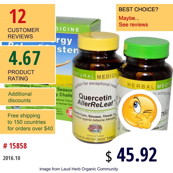 Herbs Etc., Allergy Releaf System, 2 Bottles, 60 Sofgels/tablets